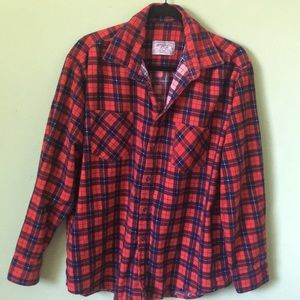 Red blue graffiti flannel NWOT